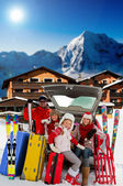 Winter, journey - family with baggage ready for the travel for winter holiday — Stock Photo