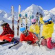 Skiing, skiers, sun and fun - family enyoing winter vacation — Stock Photo