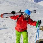 Skiing, Skier, Freeride in fresh powder snow — Stock Photo #47441831