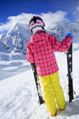 Ski, ski resort, winter sports - child on ski vacation — Stock Photo