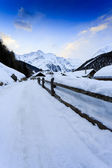 Winter vacations - winter scenery in the Alpine village — Stock Photo