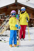 Ski, ski resort, winter sports - family on ski vacation — Stock Photo