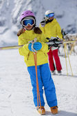 Ski, ski resort, winter sports - family on ski vacation — Stock Photo