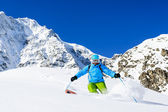 Ski, Skier, Freeride in fresh powder snow - man skiing downhill — Stock Photo