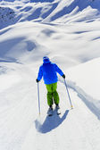 Skiing, Skier - man skiing downhill — Stock Photo