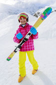 Ski, winter fun - lovely skier girl enjoying ski holiday — Stockfoto