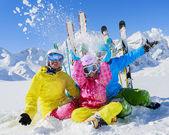 Skiing, winter, snow,  skiers, sun and fun — Stock Photo