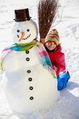 Winter fun - lovely girl enjoying winter holiday — Stock Photo