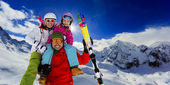 Ski, skier, snow and fun  - family enjoying winter vacations — Stock Photo