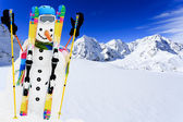 Winter, snow, sun and fun - happy snowman — Stock Photo