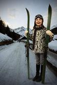 Skiing, winter vacation - girl with retro ski equipment — Stok fotoğraf
