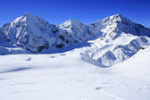 Winter mountains, panorama - snow-capped peaks of the Alps — Stock Photo