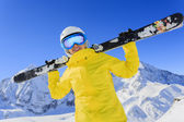 Ski, skier, sun and winter fun - woman enjoying ski vacation — Stockfoto