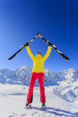 Ski, skier, sun and winter fun - woman enjoying ski vacation — Stok fotoğraf