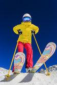 Ski, skier, sun and winter fun - woman enjoying ski vacation — Stock Photo
