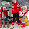 Winter, travel - family with baggage ready for the travel for winter vacation — Stock Photo #47812221