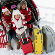 Winter, travel - family with baggage ready for the travel for winter vacation — Stock Photo #47812403