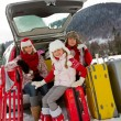 Winter, travel - family with baggage ready for the travel for winter vacation — Stock Photo #47812597