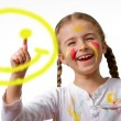 """Have A Nice Day"" Smile Face! , lovely girl painting emoticon — Stock Photo"