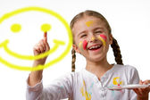"""""""Have A Nice Day"""" Smile Face! , lovely girl painting emoticon — Stock Photo"""