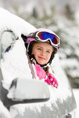 Winter, ski - happy child on the road for ski holidays — Stok fotoğraf