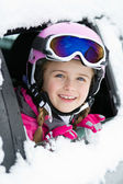Winter, ski - happy child on the road for ski holidays — Stock Photo
