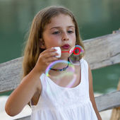 Summer joy, Soap bubbles - lovely girl blowing bubbles — Stock Photo