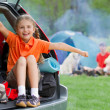 Summer camp, summer vacation - family on summer camp — Stock Photo #47929515