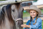 Ranch - Lovely girl with horse on the ranch — Stock Photo