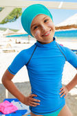 Summer beach - young surfer girl on the beach — Stock Photo