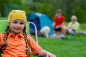 Summer camp, summer vacation - family on summer camp — Stock Photo