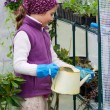 Gardening, planting concept - lovely girl watering flowers in the greenhouse — Stock Photo #47933103