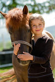 Horse and lovely girl - best friends — Stock Photo