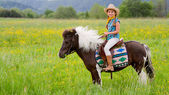 Horseback riding - lovely cowgirl is riding a pony — Stock Photo