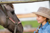 Ranch - Lovely girl with horse on the ranch — Stock fotografie