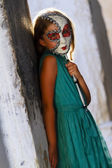 Carnival in Venice, Italy - lovely girl with carnival mask — Stockfoto