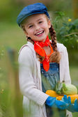 Gardening, gardener, child - lovely girl with picked vegetables — 图库照片