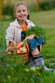 Vegetable garden, child - lovely girl with the basket of ecological harvests — Zdjęcie stockowe