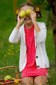 Fruits orchard, garden - lovely girl with picked ripe pears — Stock Photo