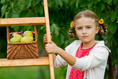 Fruits orchard, garden - lovely girl with picked ripe pears and plums — Stock Photo