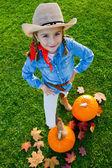 Oogst van pompoenen, herfst in de tuin - de mooie meisje en grote pompoenen — Stockfoto