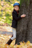 Autumn - lovely girl enjoying autumn — Stock Photo