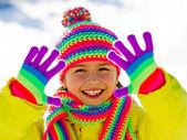 Kış eğlenceli, kar, kış çocuk - hoş kız kış keyfi — Stok fotoğraf