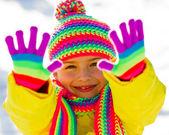 Winter fun, snow, winter kid - lovely girl enjoying winter — Stock Photo