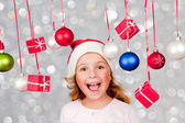 Merry Christmas - lovely girl enjoying Christmas — Stockfoto