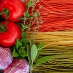 Постер, плакат: Italian cuisine Italian tricolor pasta and ingredients