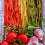 ������, ������: Italian cuisine Italian tricolor pasta and ingredients