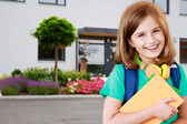 Back to school - portrait of beautiful young schoolgirl — Stock Photo