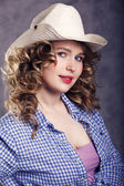 The girl the cowboy — Stock Photo