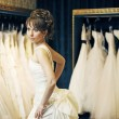 Bride in a wedding store — Foto de Stock